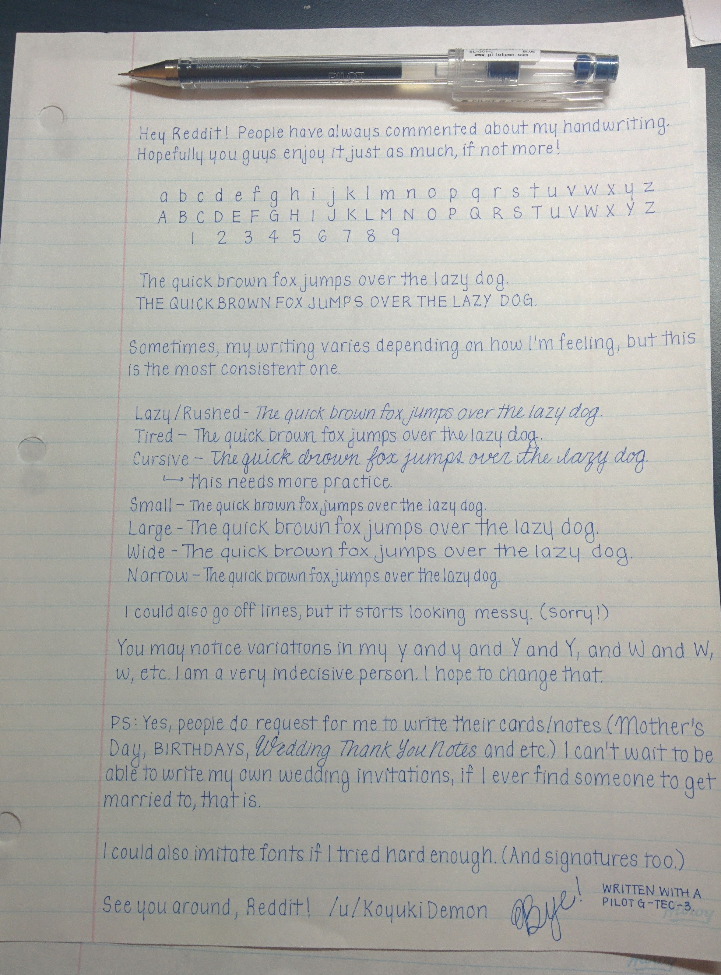 really pretty handwriting