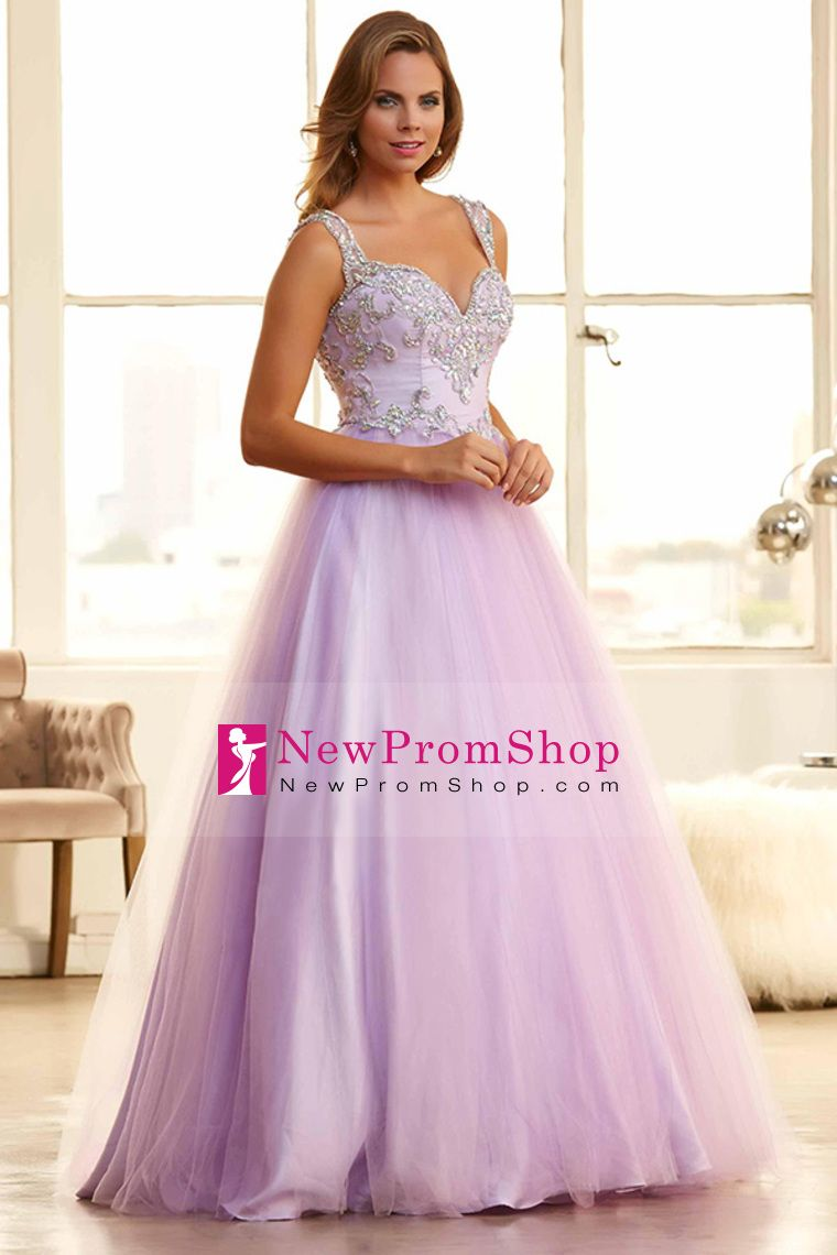 2015 Luxurious Prom Gown Straps A-Line Tulle With Beads brush train ...