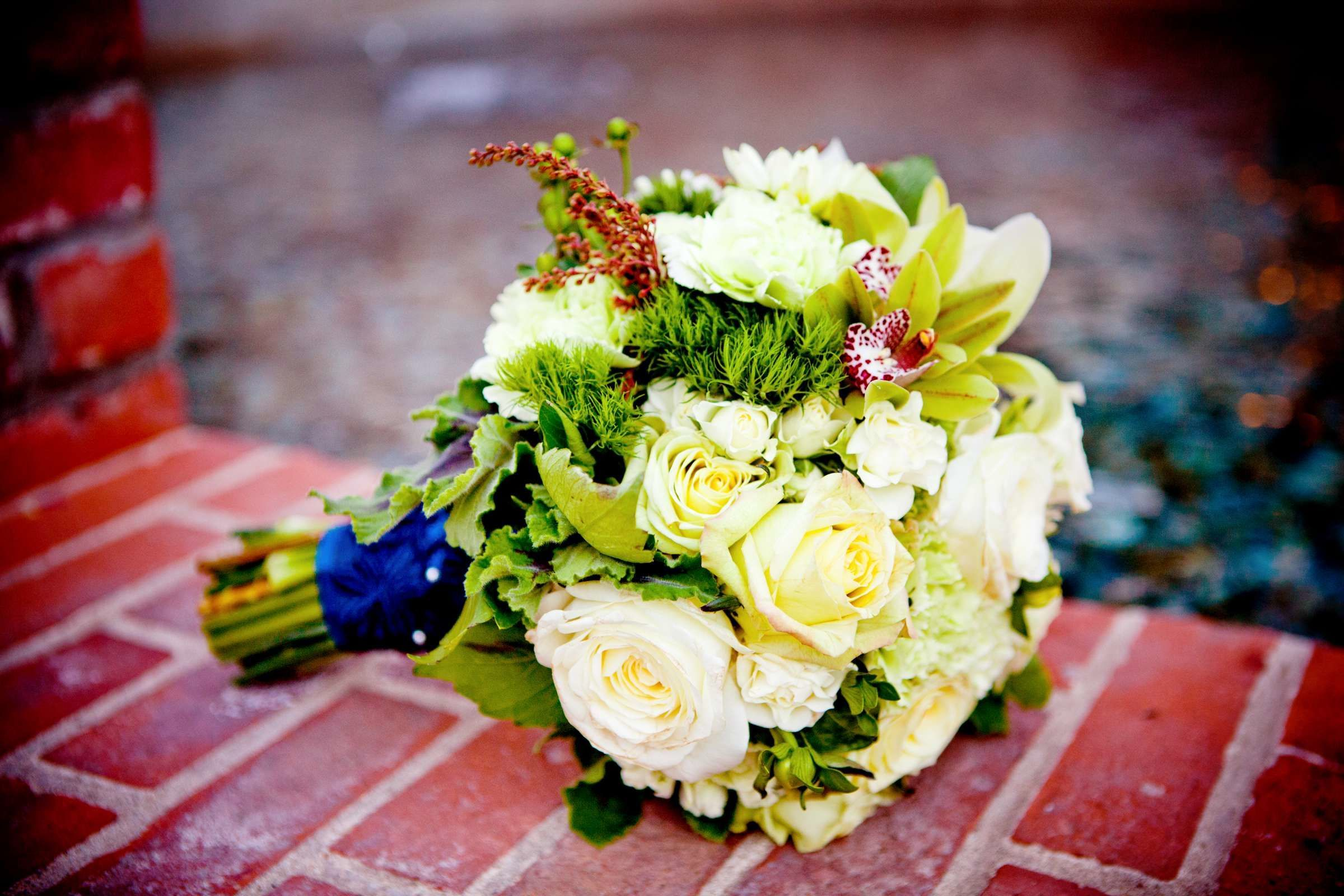 Bridal bouquet featuring green dianthus cybididium orchids and