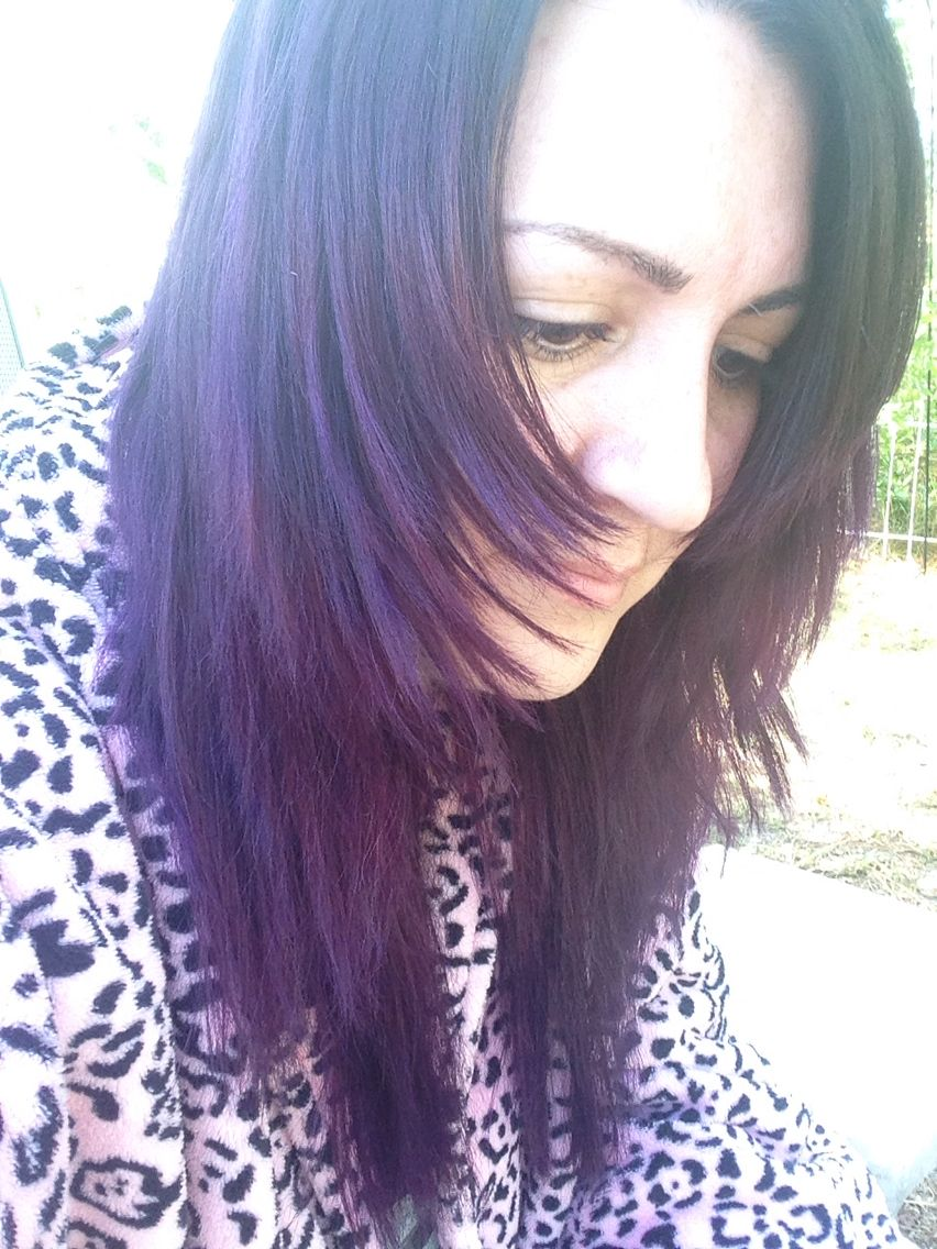 Manic Panic Purple Haze Mixed With Ultra Violet On Dark Not Bleached Hair Dark Hair Bleached Hair Hair Styles