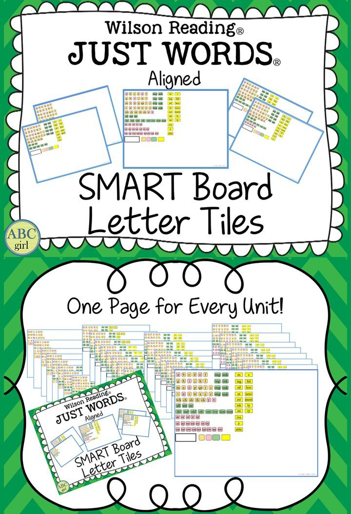 Wilson Reading Just Words Aligned Smart Board Letter Tiles