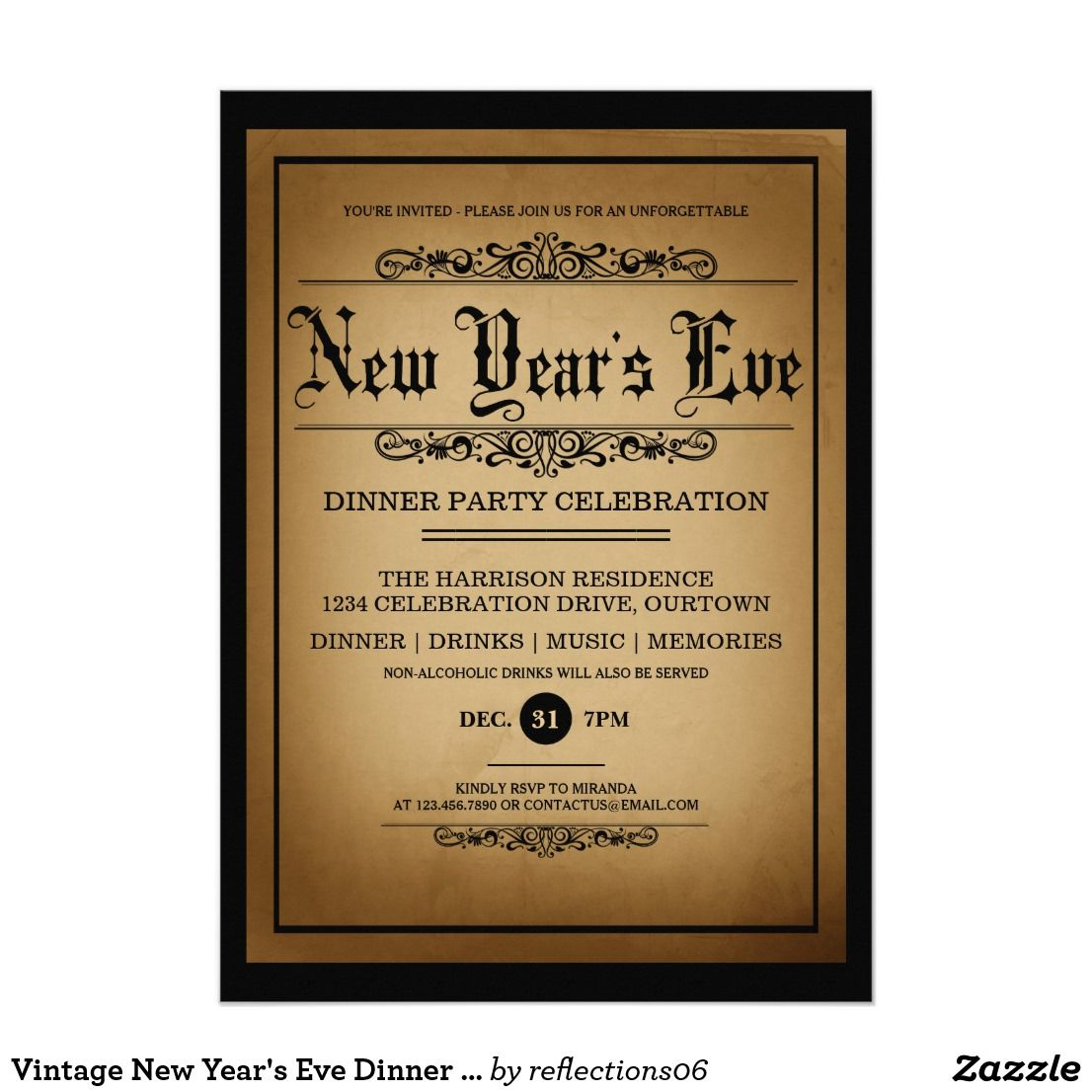 vintage new years eve dinner party card make your new years eve party an event to