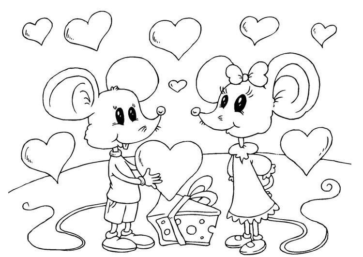Målarbild Valentin-möss | målarbilder | Pinterest | Medan, Barn and Om
