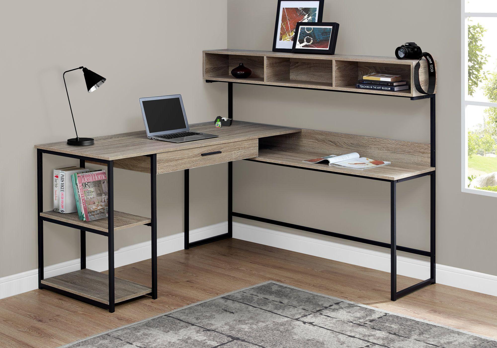 Taupe Black Metal 59 L Shaped Corner Desk Cheap Office