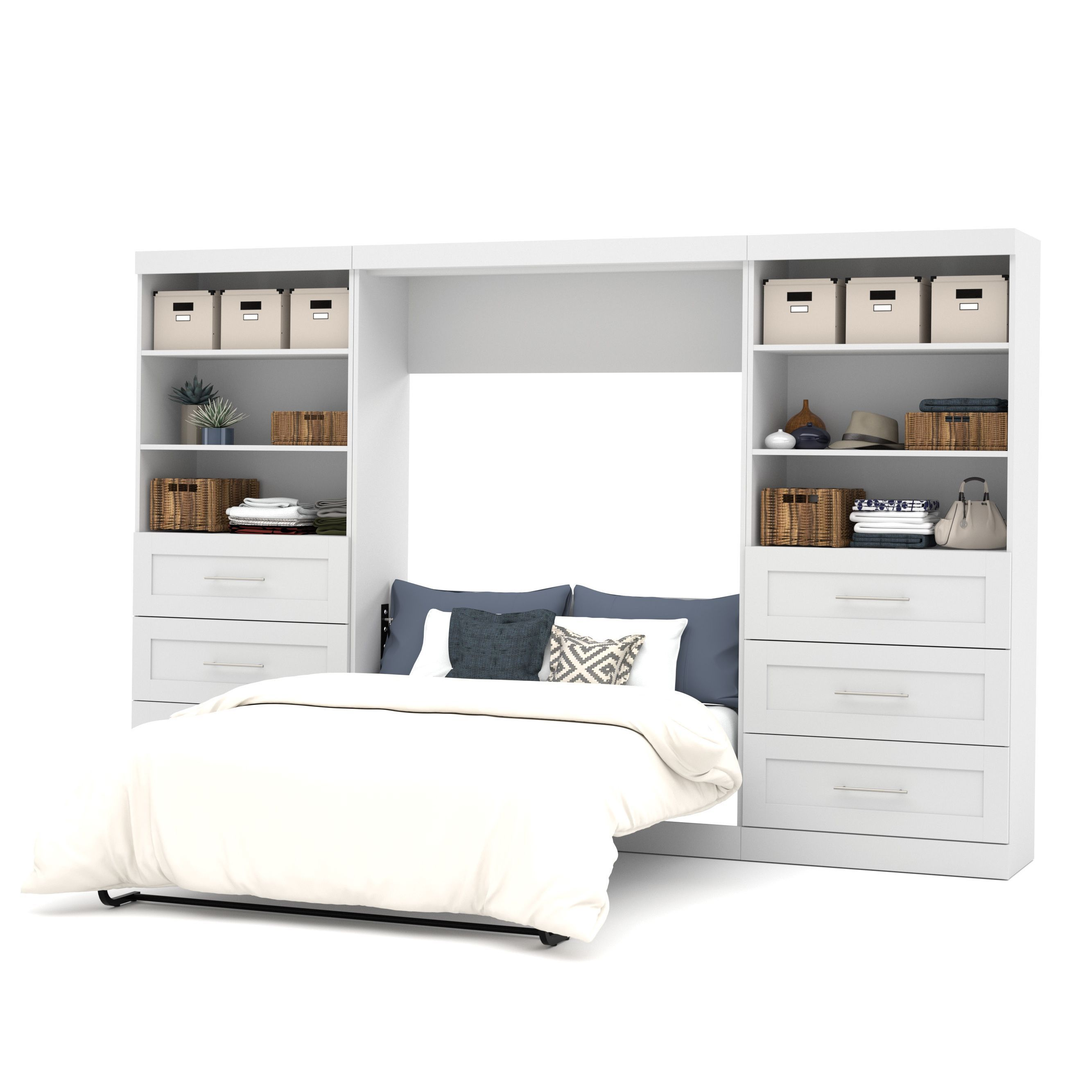 pur by bestar 131 full wall bed kit white modern on wall beds id=47021
