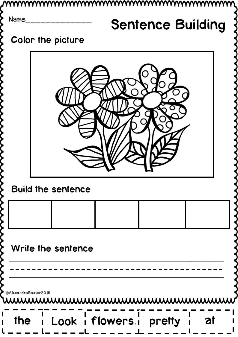 Who Doesn T Love Fun And Seasonal Worksheets This Resource Is A Selection Of 10 Sente Sentence Building Fun Writing Activities Writing Sentences Kindergarten Kindergarten spring writing worksheets