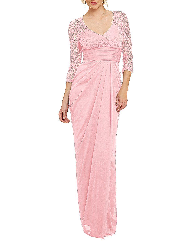 Bridesmay long chiffon vneck evening gown sleeved bridesmaid dress