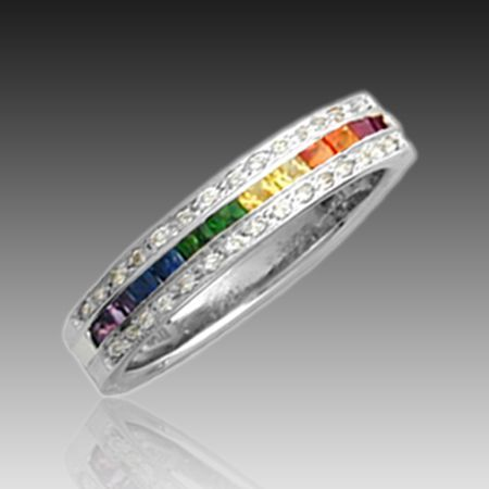 lesbian wedding rings - Rainbow Wedding Rings