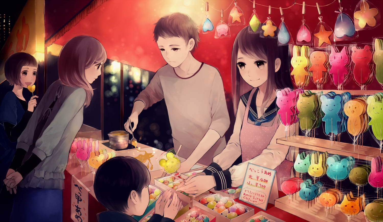 Anime Girls And Anime Boys With Candy Traditional Japanese Festival Carnival Anime Anime Boy Awesome Anime