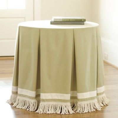 box pleated table skirt with contrasting band bullion