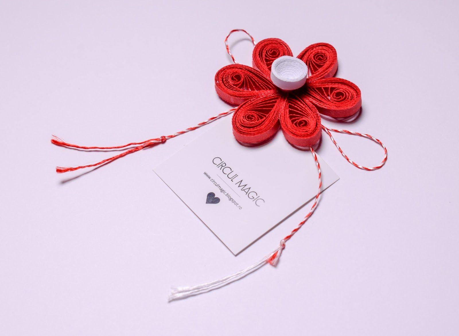 Quilling Paper Flower Diy Favor Red Flower Martisoare Handmade