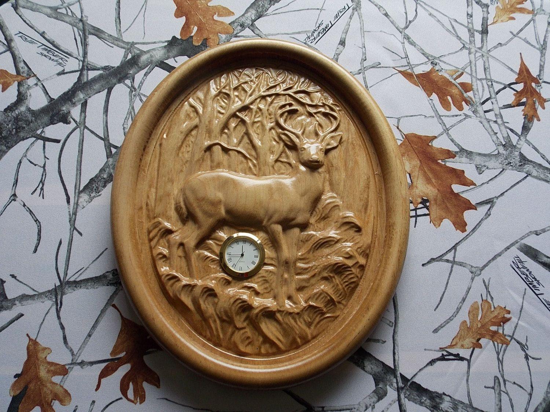 Deer Wood Wall Clock Sale Clearance Wood Wall Art Deer Hunting Decor 3d Wood Carving Woodland Nursery Wall Art Deer Clock Deer Wall