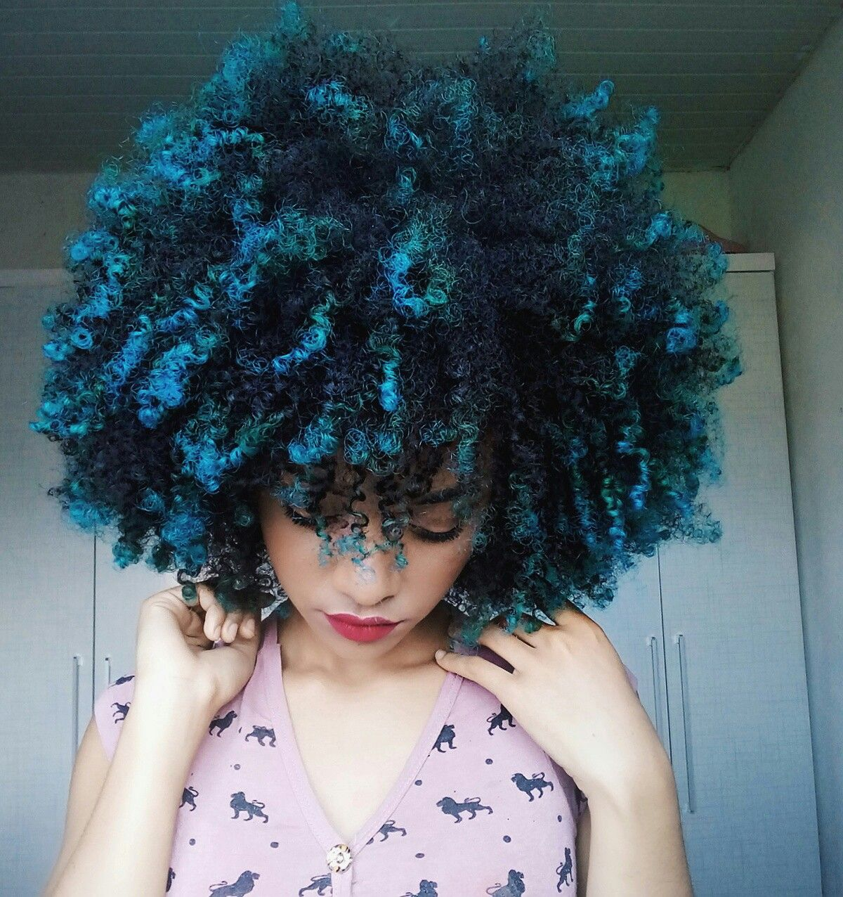 Curly Hair Blue Hair Instagram Futricandomoda Natural