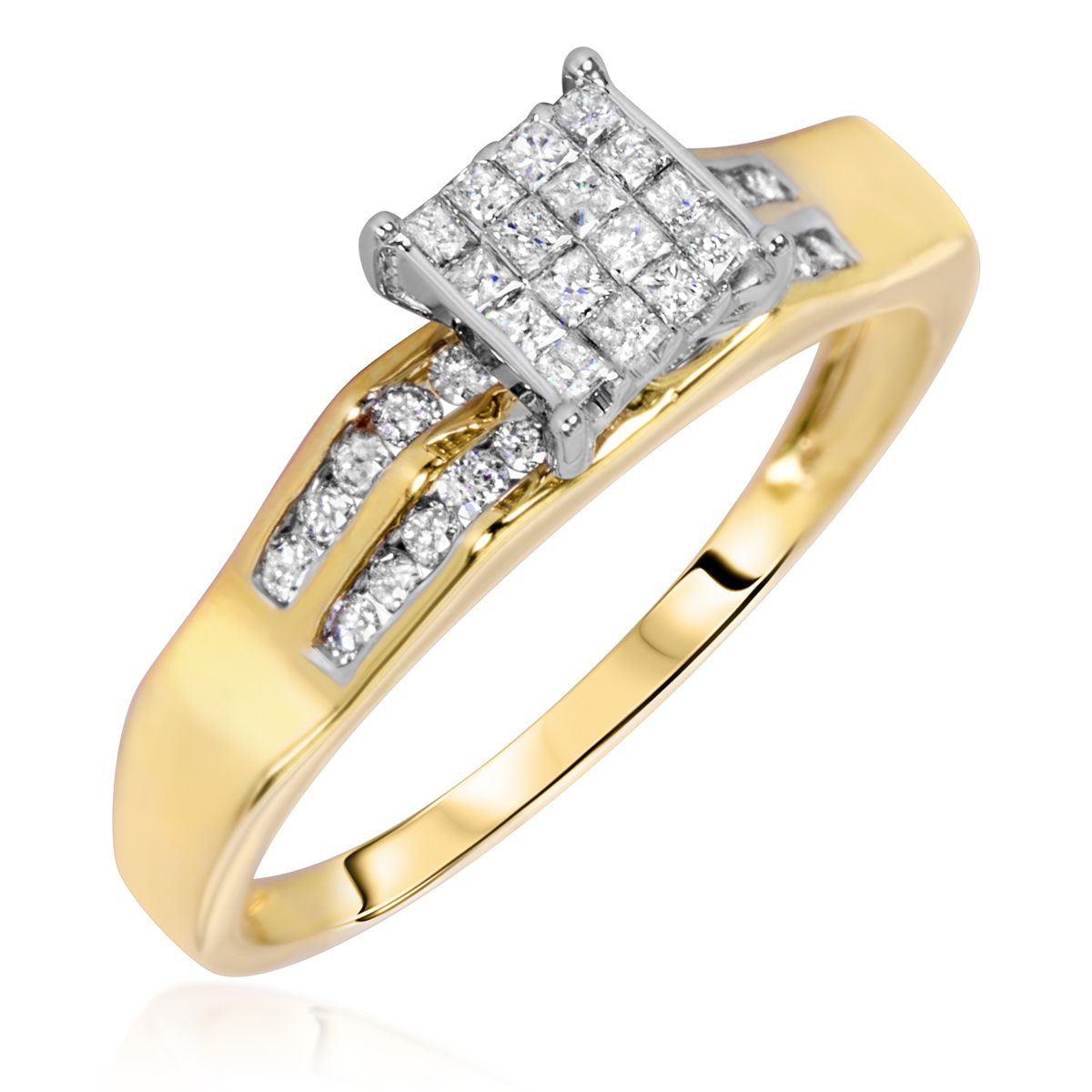 Awesome Yellow Diamond Wedding Ring Sets With Carat Diamond Trio Wedding  Ring Set 10k Yellow Gold