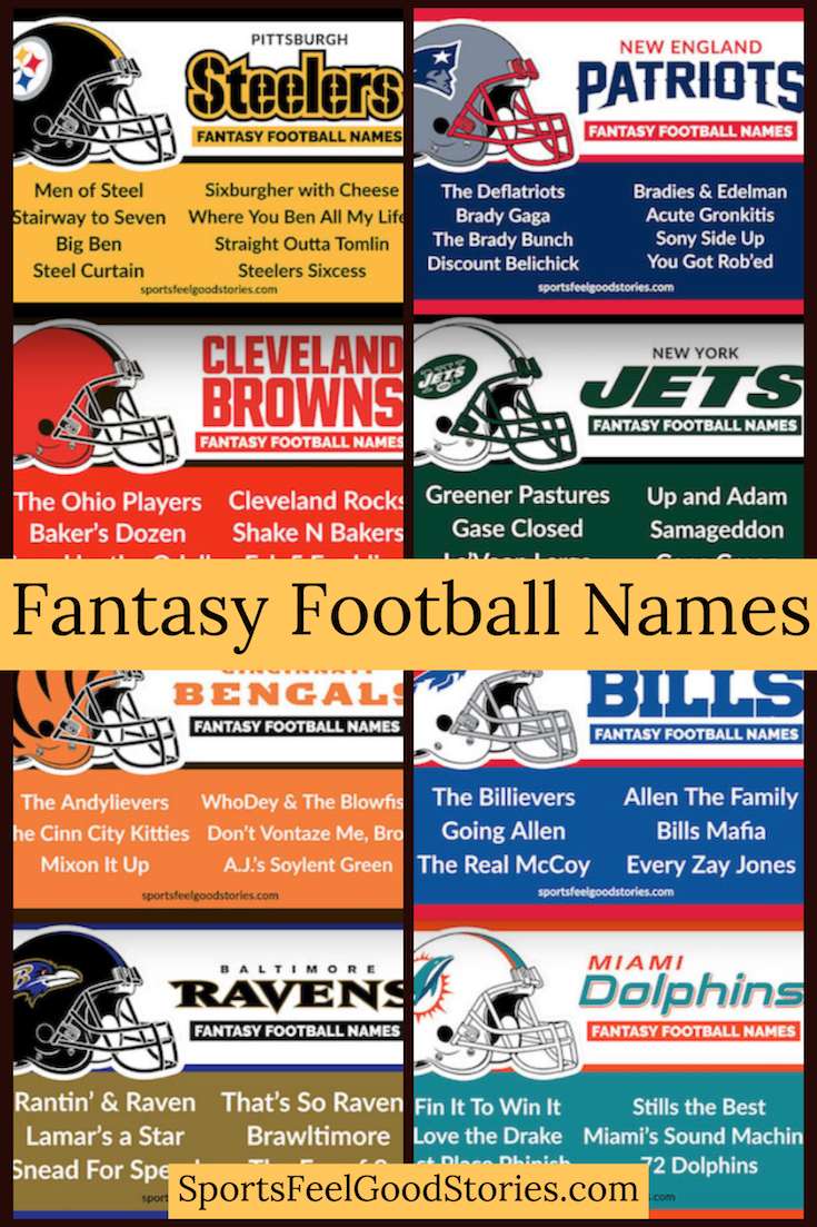 Best Fantasy Football Names Sorted By Team Sports Feel Good Stories Cool Fantasy Football Names Fantasy Football Names Football Names