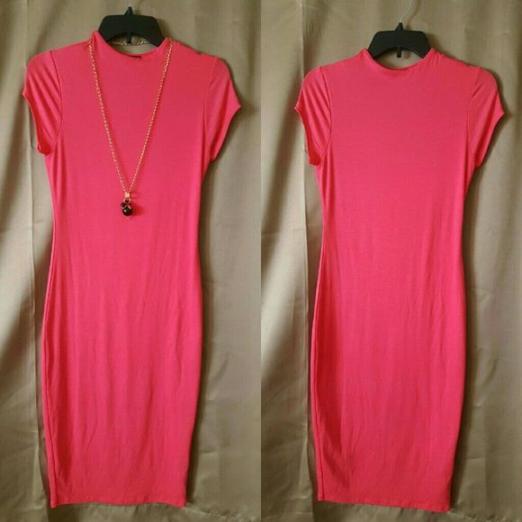 Solid Bodycon Dress Coral, knee length, never worn wearever Dresses Midi