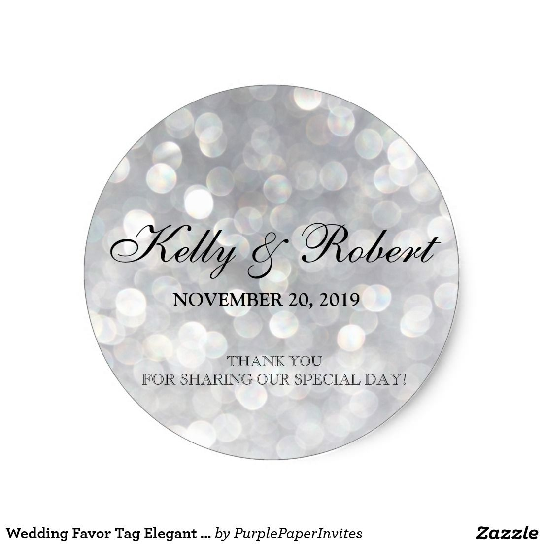 Wedding Favor Tag Elegant Silver Bokeh Lights Classic Round Sticker ...