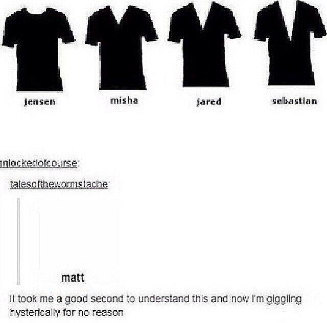 Jensen Ackles, Misha Collins, Jared Padalecki, Sebastian Roche, and Matt Cohen's style of shirts XD