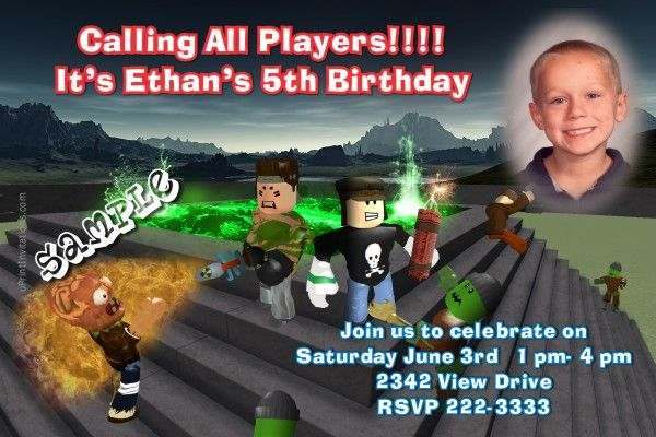 Roblox Birthday Invitations Get These RIGHT NOW Design Yourself Online Download And Print IMMEDIATELY Or Choose My Printing Services