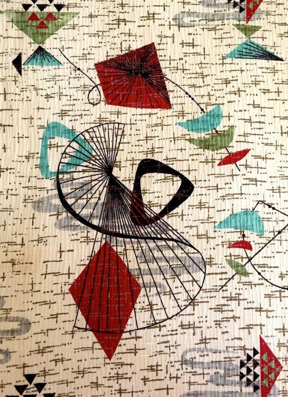 George Jetson Atomic Eames Era Fabric Mid Century Modern Abstract Design Barkcloth Cotton Yardage Light Upholstery Drapery Barkcloth Mid Century Pattern Fabric Mid century modern fabric reproductions