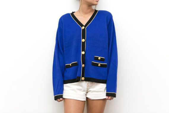 80s Blue Cardigan / Varsity Knit Cardigan / Gold Button Up Royal ...