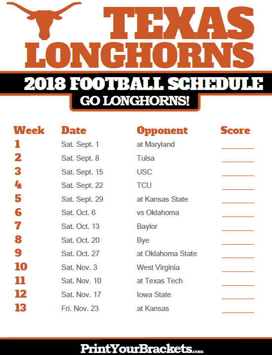 Ut Longhorns Football Schedule 2019 2018 Printable Texas Longhorns Football Schedule | Printable
