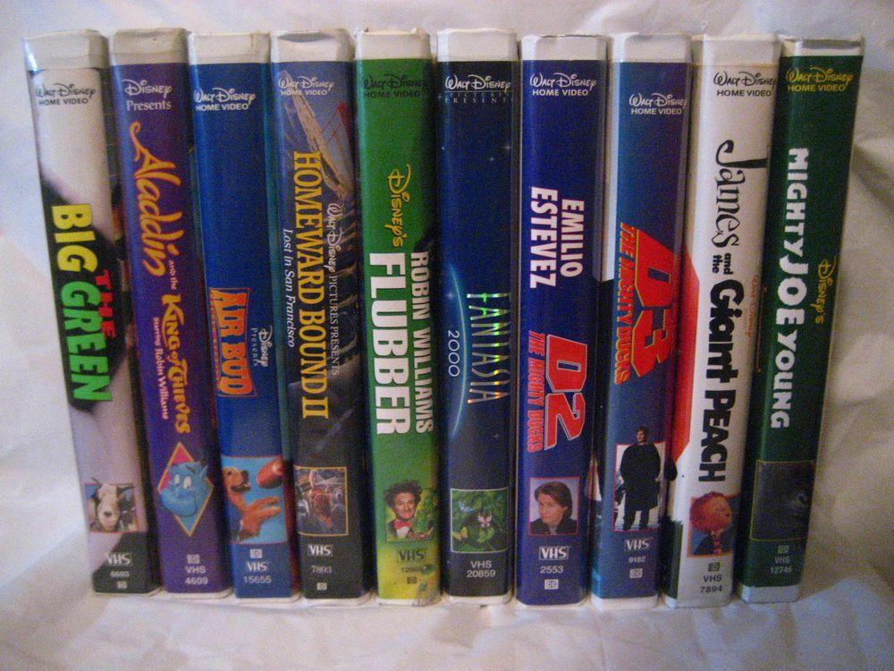 Walt Disney Home Video Lot 10 VHS Tapes Aladdin Air Bud
