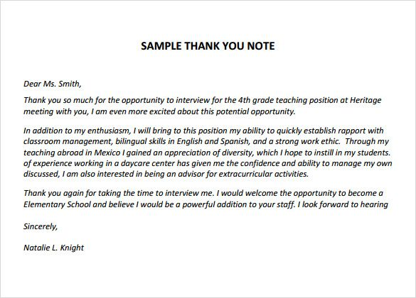 Sample Thank You Notes For Teachers Documents Pdf Word Teacher