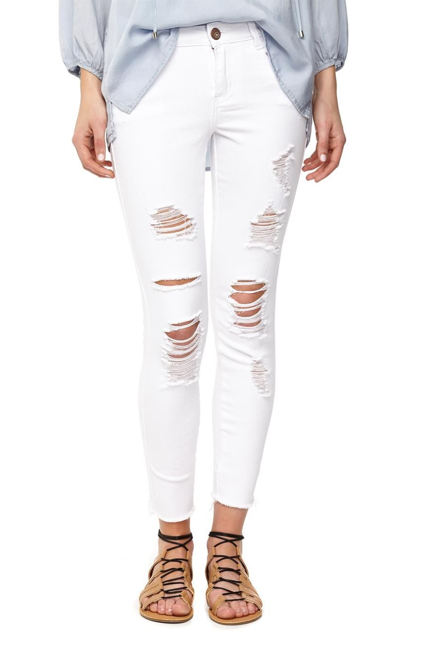 the ripped skinny 7/8 jean | Perfect jeans, White skinny ...