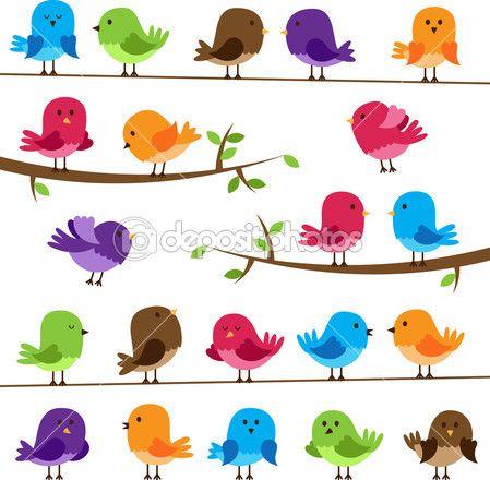 Vector conjunto de pájaros coloridos dibujos animados | Clipart ...