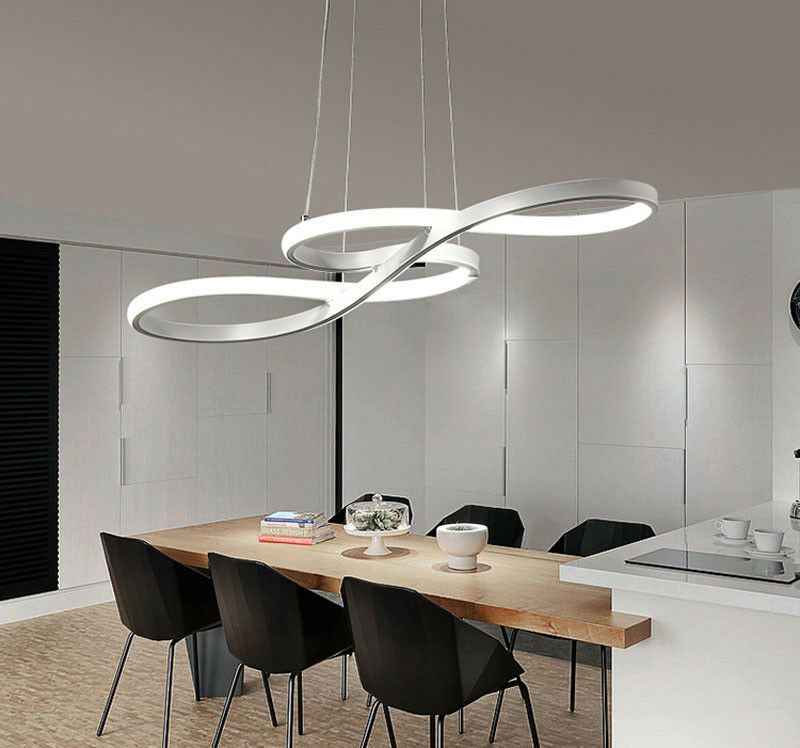 58w Modern Led Chandelier Music Notes Curve Pendant Light