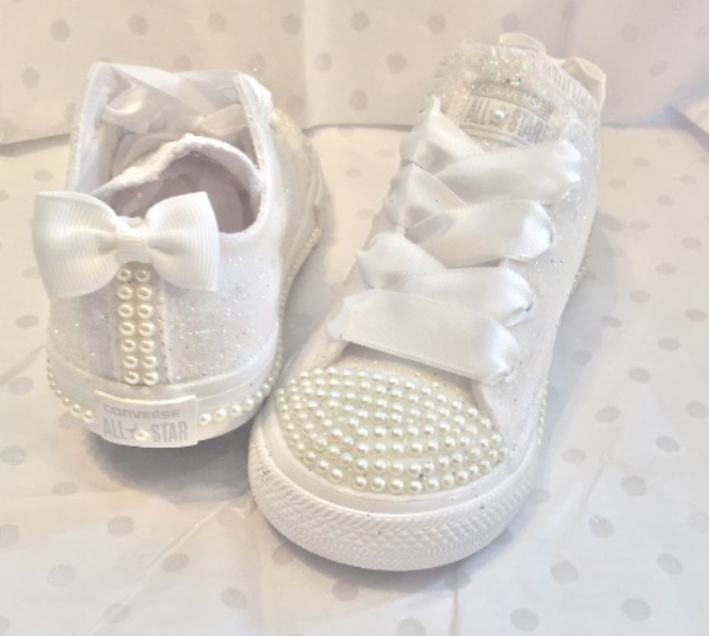 ff2b483f599 Kids Sparkly White Ivory Glitter Converse All Stars Pearls Flower GiRL  Communion wedding bridal Shoes