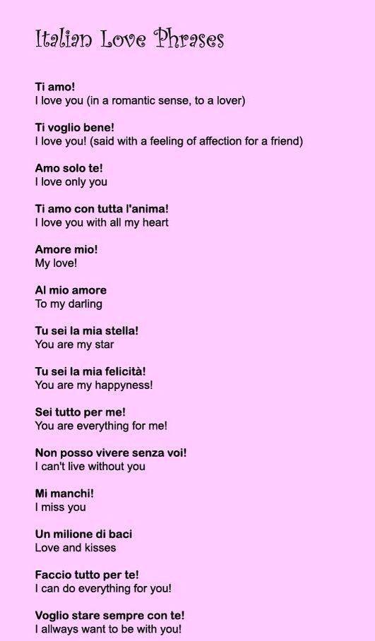 Say It With Italian Language Italian Love Phrases Learning