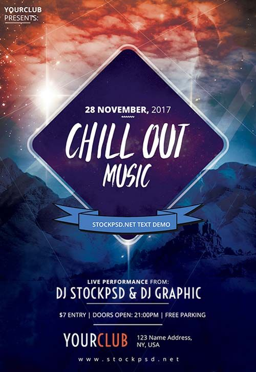 Chillout Music Party Free Flyer Template