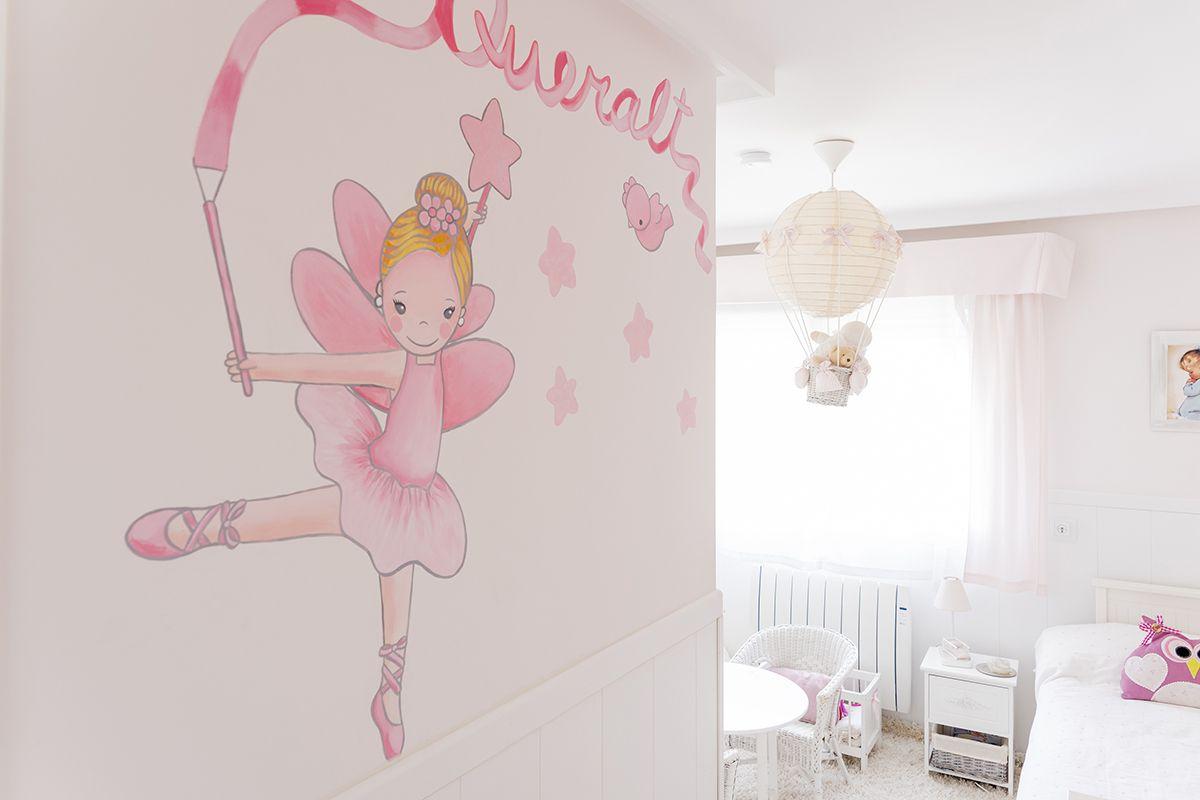 pintura mural - habitación infantil de niña con su nombre.