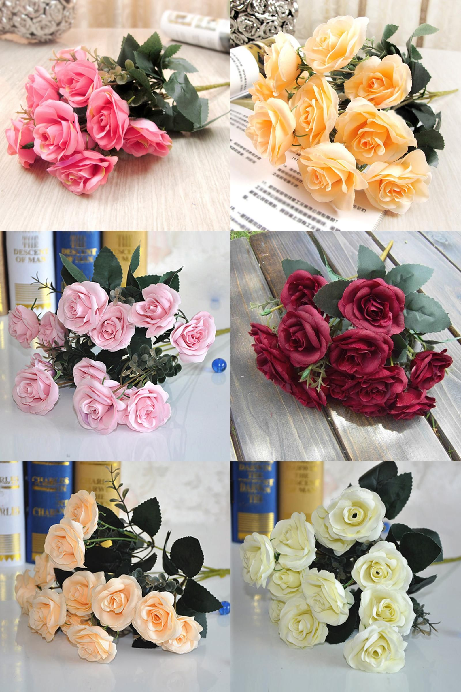Wedding decorations at home  Visit to Buy New  Heads Rose Silk Artificial Flowers Leaf Plants