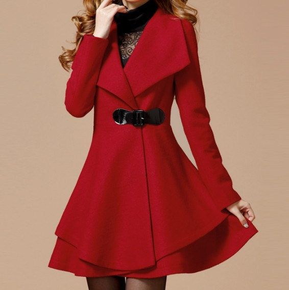 2ba92aa04 Red Long Coat Winter Coat Woman coat Long Jacket Long Sleeves ...