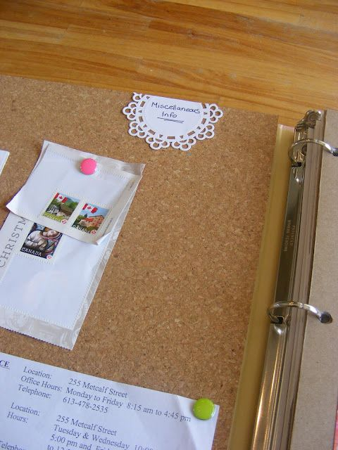 Glue a cork tile to the inside front and back of a binder to help keep track of little things.