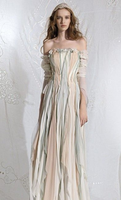 Multi-colored Wedding Dress. This would be really cool on the beach ...