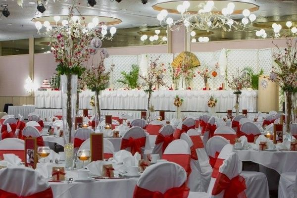 Pacific Beach Hotel Hawaii Venues Indoor Ballroom Wedding Reception With White And Red Decor
