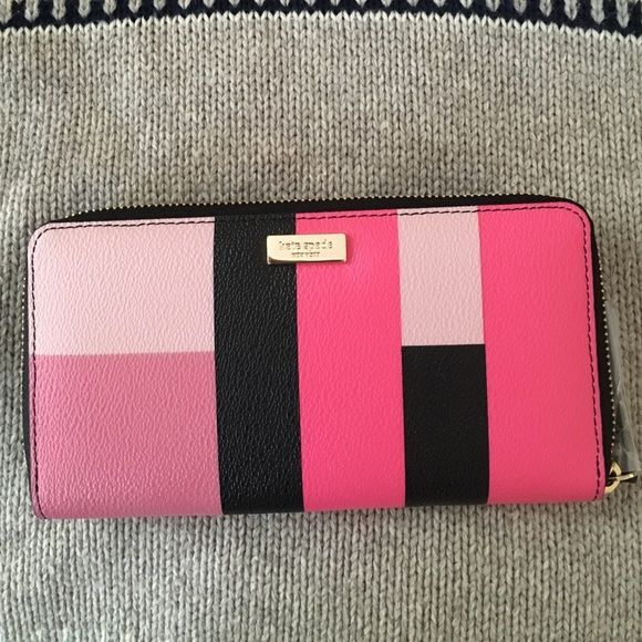 Grant Street Grainy Vinyl Neda Colorblock Wallet Black print in colors of pinks. Color block party wallet is brand new. Excellent condition kate spade Bags Wallets