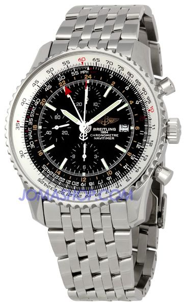 Breitling Navitimer World Mens Stainless Steel Watch with Black Dial A2432212-B726SSv 5850
