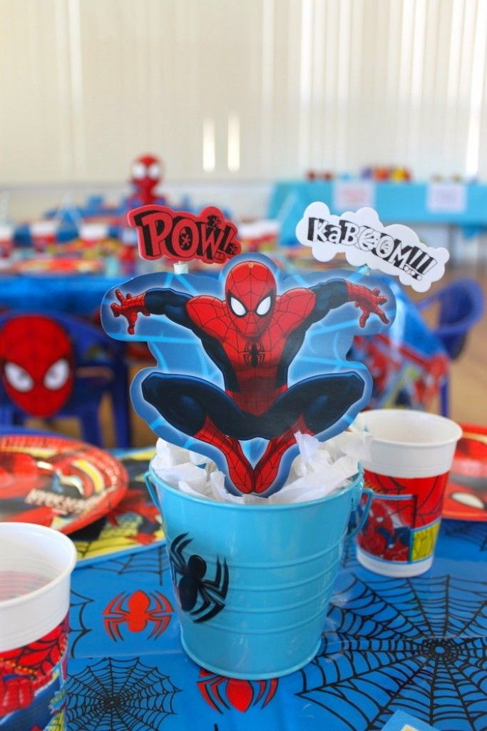 Table Centerpiece From A Spiderman Birthday Party Via Kara S Party