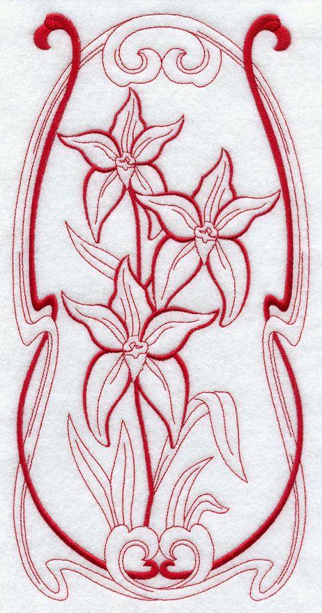 Australian Art Nouveau Cowslip Orchid (Redwork)