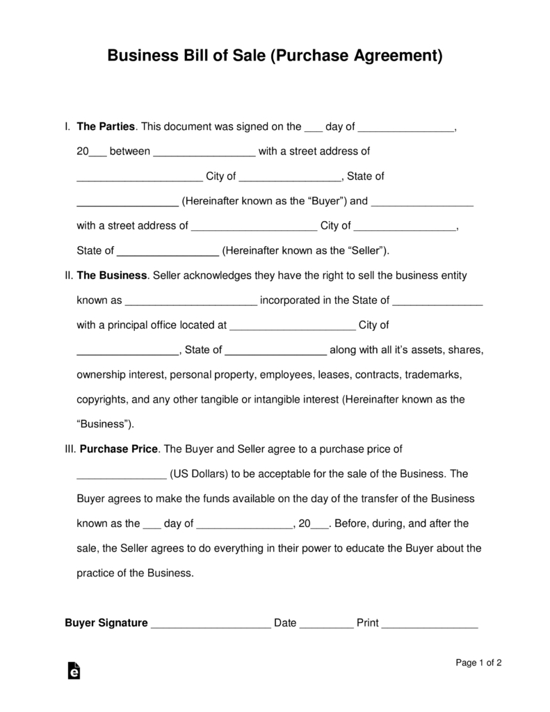 Free Business Bill Of Sale Form Purchase Agreement Word Pdf Regarding Share Purchase Agreement Template Uk Purchase Agreement Contract Template Word Template
