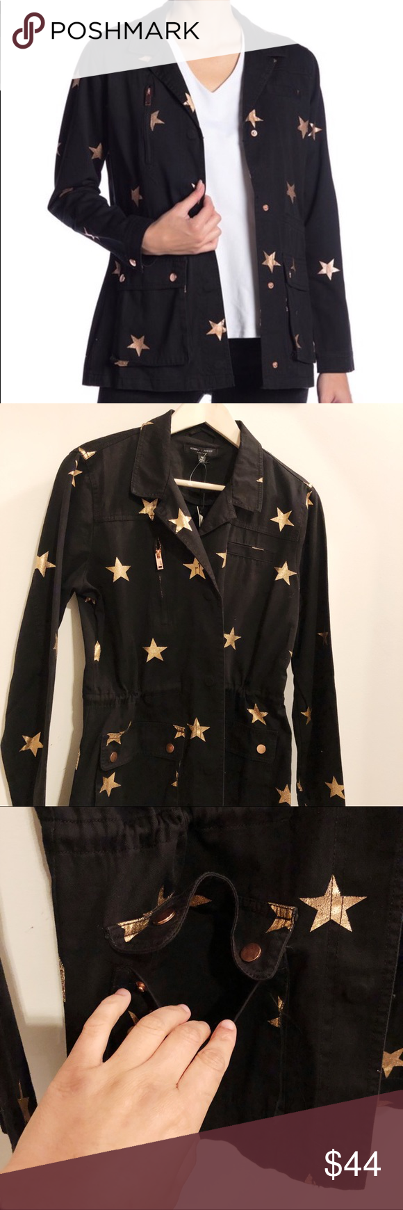 8c464e415b Romeo   Juliet Contour Military Jacket Black Romeo   Juliet Contour Military  Jacket Black Gold star