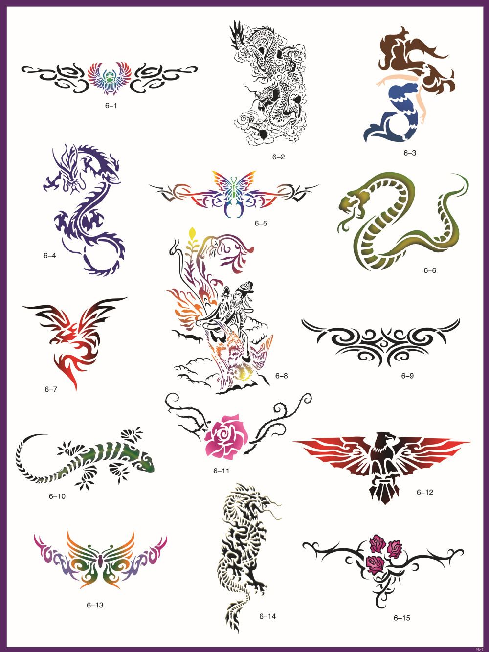 Books Reusable Airbrush Temporary Tattoo Stencils Books Kit - 24 ...
