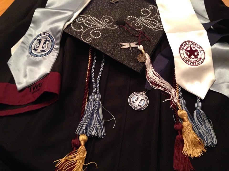My TWU Fall 2013 B. S. in Psychology graduation regalia. It includes ...