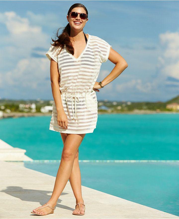 3a3b48d8c1200 Calvin Klein Open-Knit Striped Tunic Cover Up // 20 Cute Beach / Swim Cover- Ups // via The Busy Girl's Shopping Companion #swim #beach #cover-up #cute  # ...