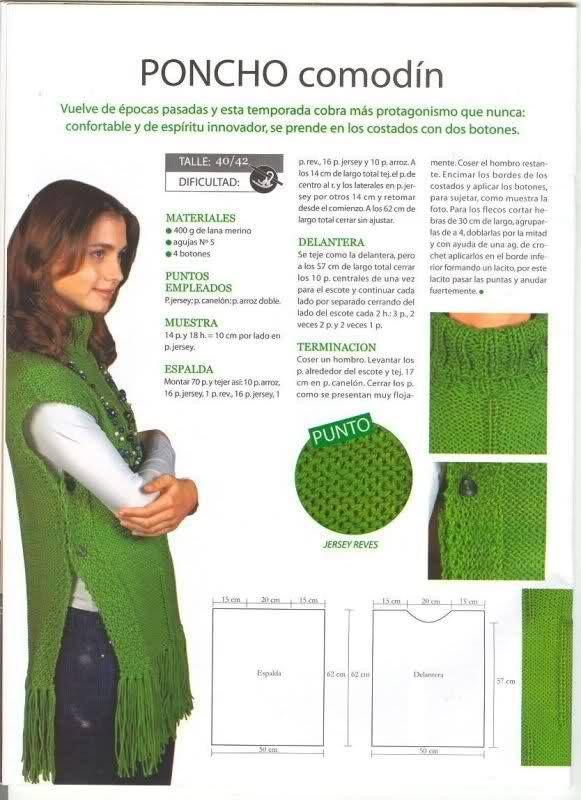 poncho verde con tuto 2 | crochet y dos agujas | Pinterest | Ponchos ...